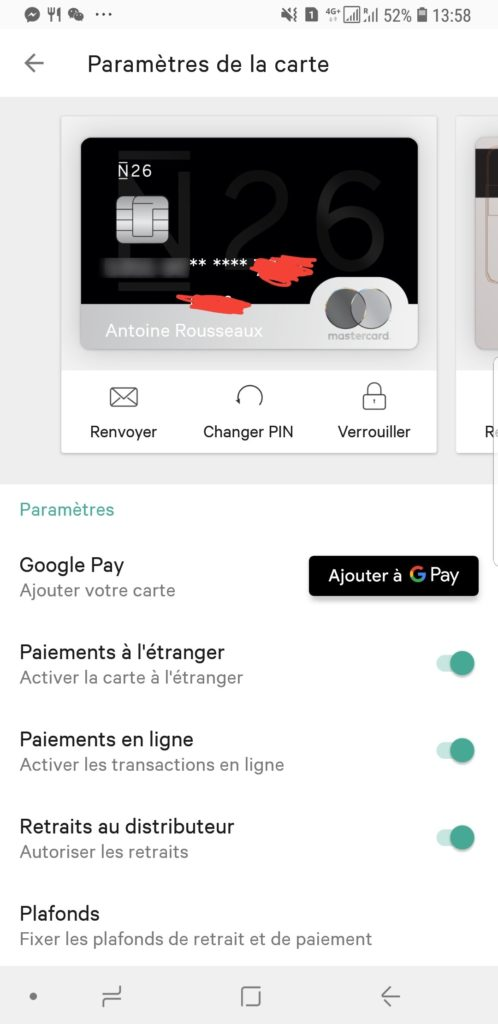 Activer google pay N26